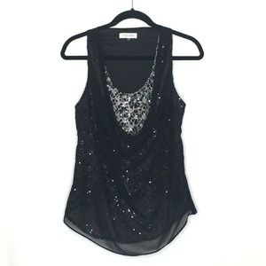 Sugarlips Drapey Double-Layer Chiffon Sequined Top
